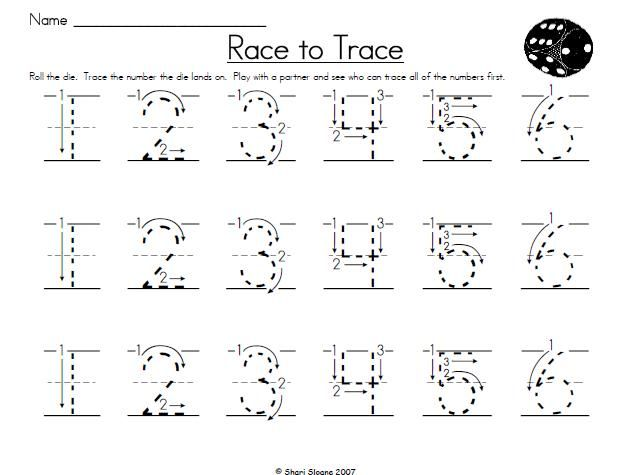 Common Worksheets » Dotted Numbers To Trace - Preschool and ...