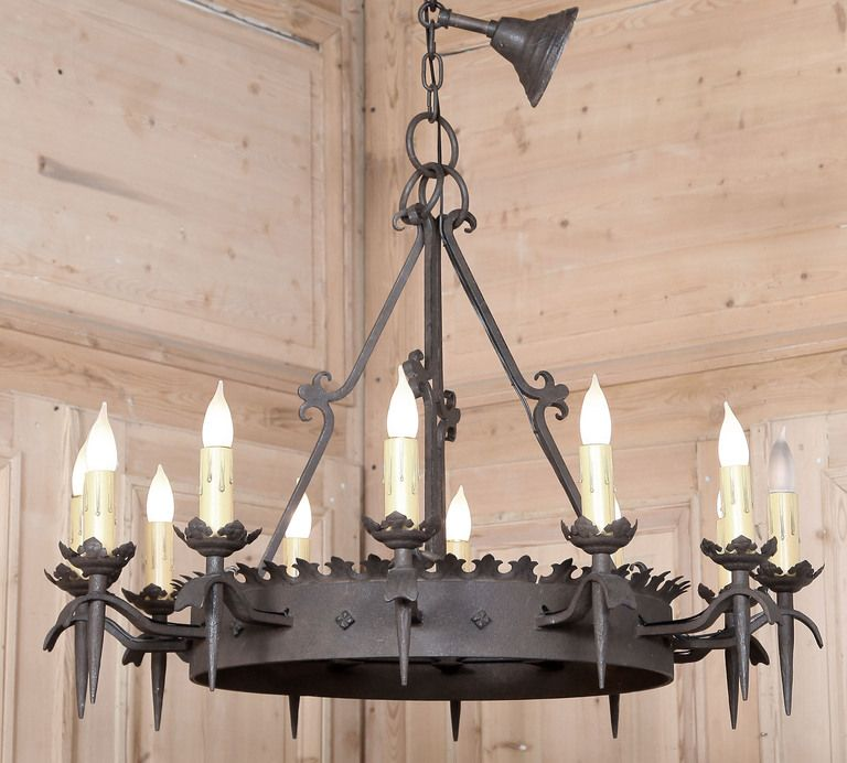 Vintage Gothic Wrought Iron Chandelier – Rustic Wrought Iron Chandelier