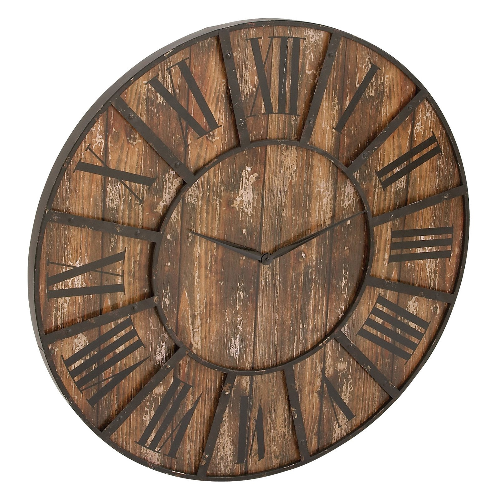 Decmode Metal And Wood Wall Clock 36 Diam In In 2019