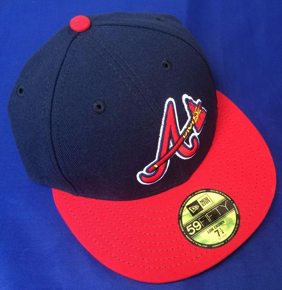 New Era 59fifty Mlb Atlanta Braves Authentic Low Crown Navy Blue Red Cap 7 1 4 59fifty Baseballcap New Era 59fifty Atlanta Braves New Era