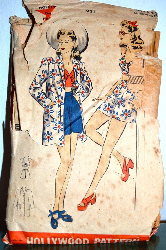 1940s Vintage Hollywood Pattern 921 Misses by TabbysVintageShop, $21.00