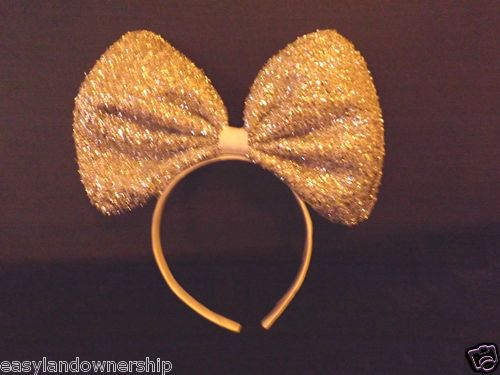 Minnie Mouse Ears Headband BLING Silver Sparkle Shimmer JUMBO BIG GIANT HAIR BOW