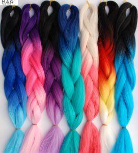Teczowe Ombre Wlosy Syntetyczne Na Warkoczyki 15k 6404993765 Oficjalne Archiwum Allegro Multi Colored Hair Hair Color Hair Extensions