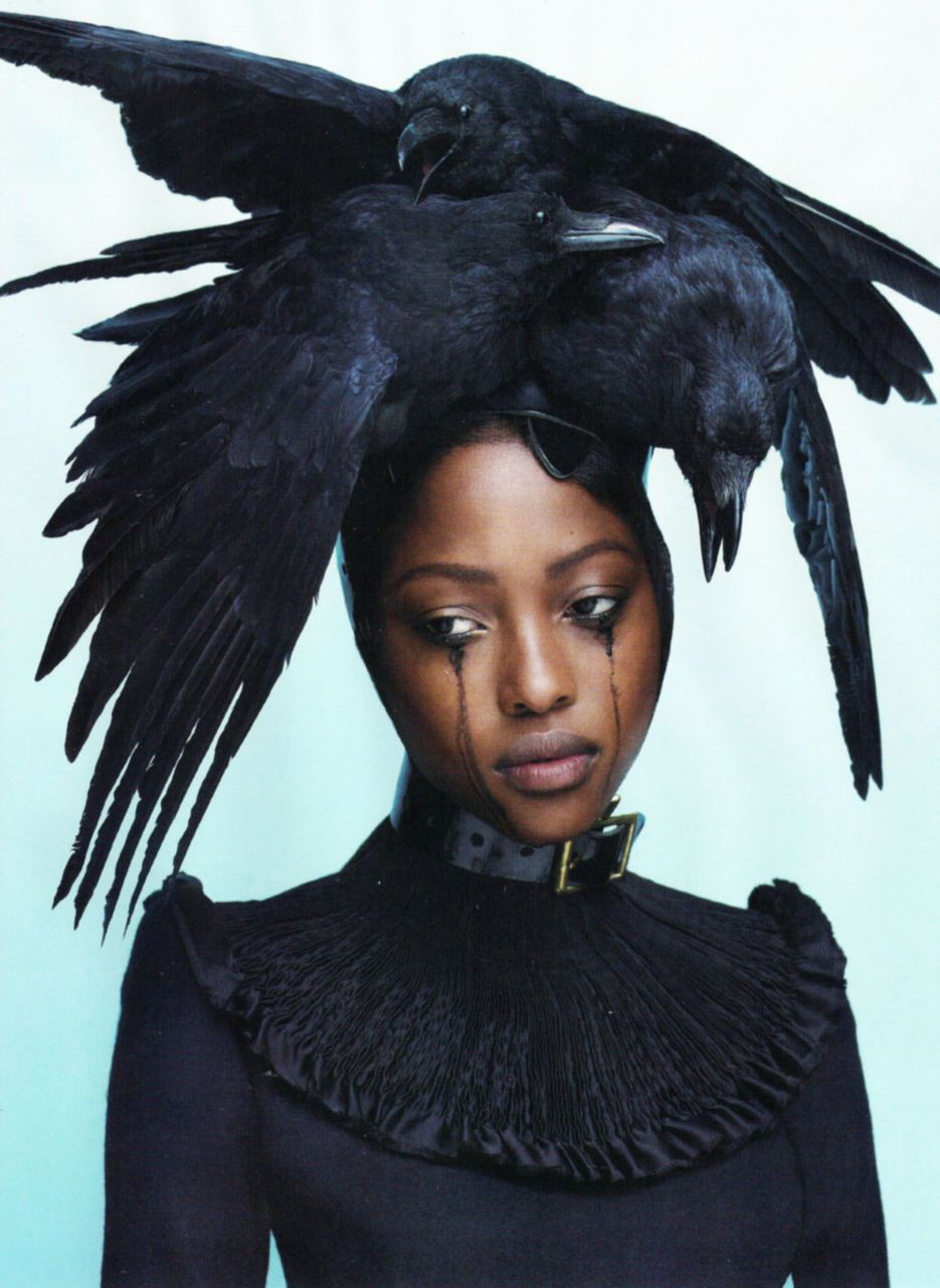 SupernaturalLove #6, Fall/Winter 2011-12  Ph: Mert Alas & Marcus Piggott  Model: Nyasha Matonhodze  Dress by Giles  Bird headpiece by Pam Hogg