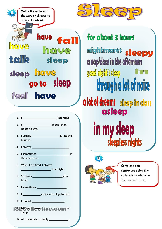 Sleep Collocations Comprehension Exercises Sleep Reading Comprehension [ 1440 x 1018 Pixel ]