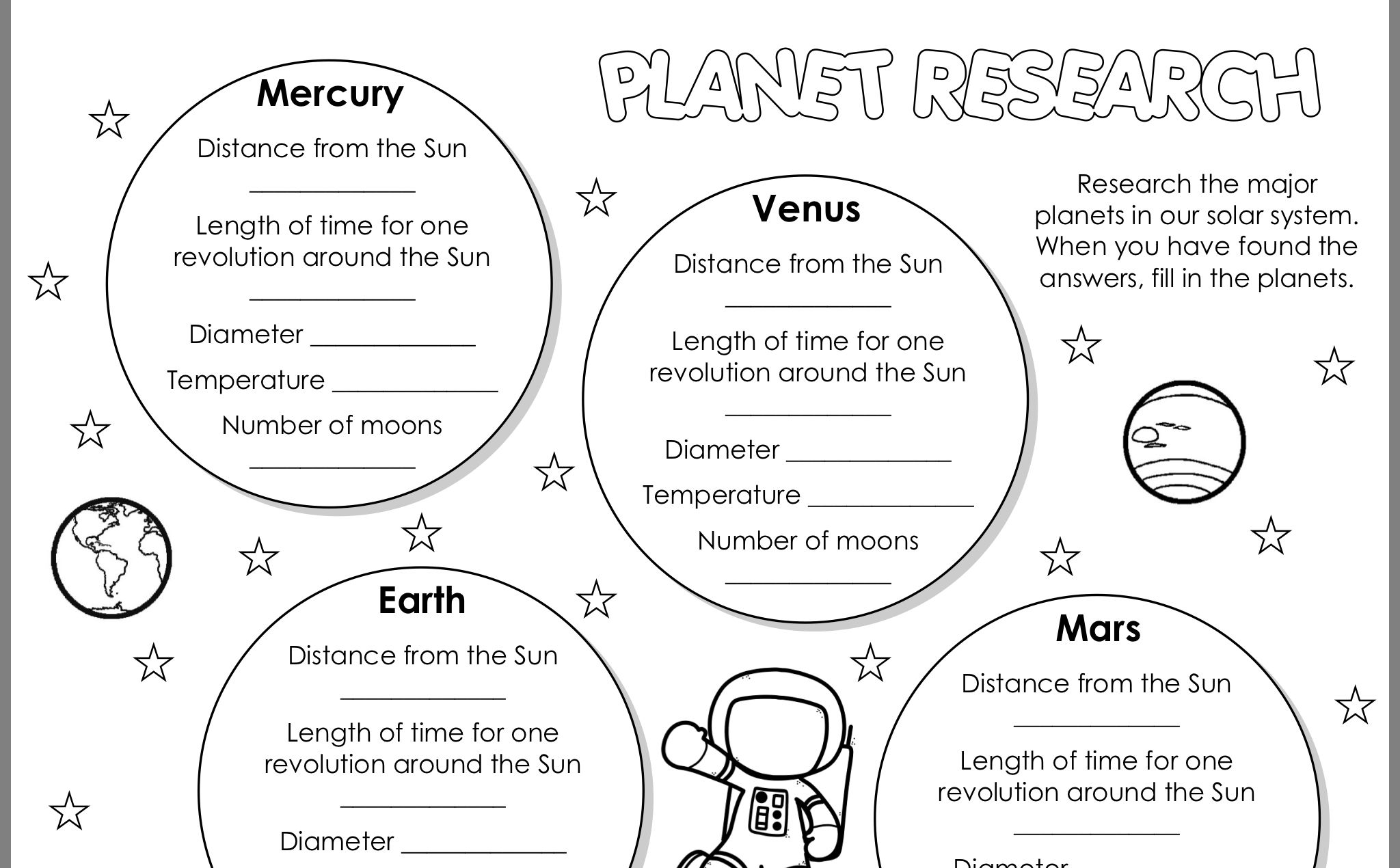 Pin By Felicia Siebor On Teacher Solar System Worksheets Our Solar System Mercury Planet