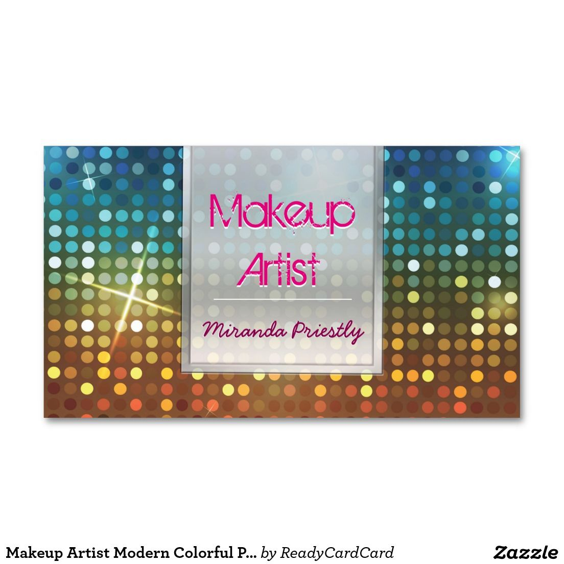 Makeup Artist Modern Colorful Polka Dots Appointment Card