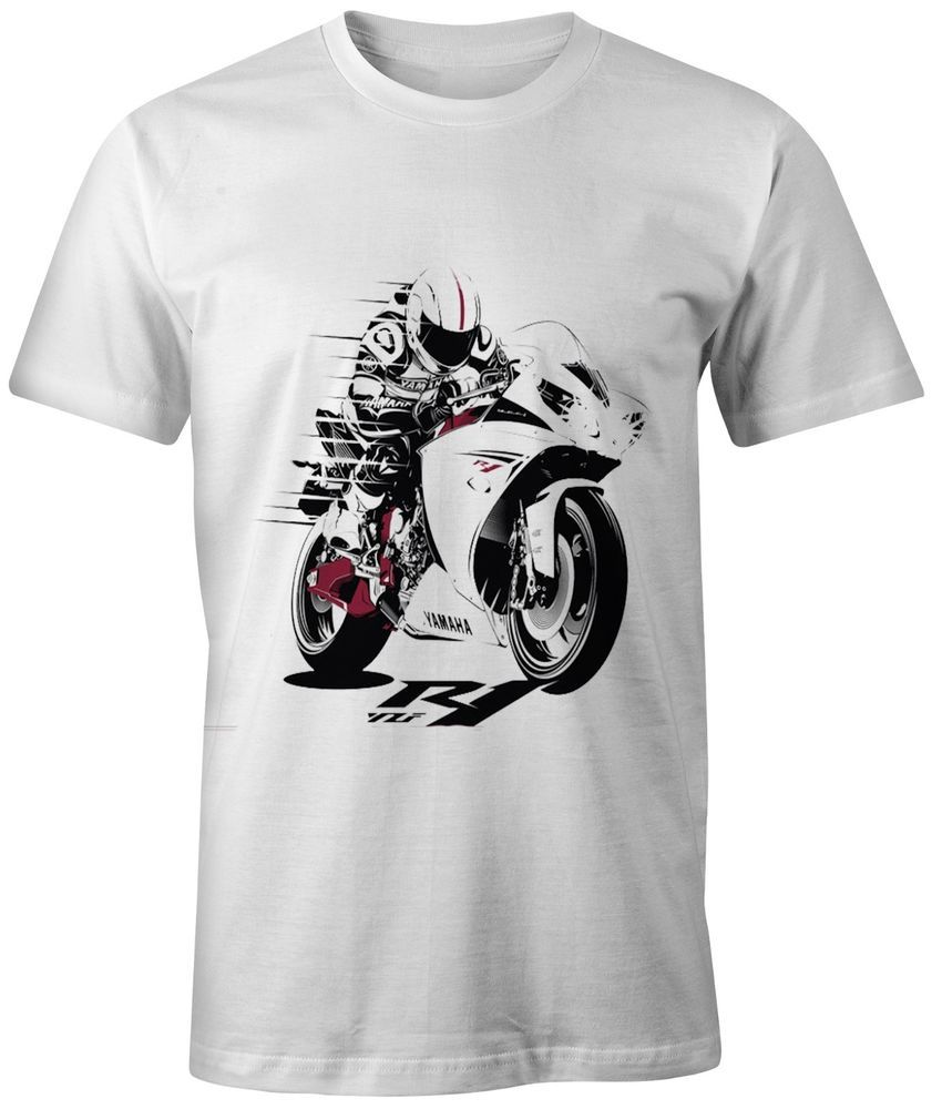 3253ecbc2d7b NEW WHITE T-SHIRT FOR BIKERS YAMAHA YZF R1  Unbranded  PersonalizedTee