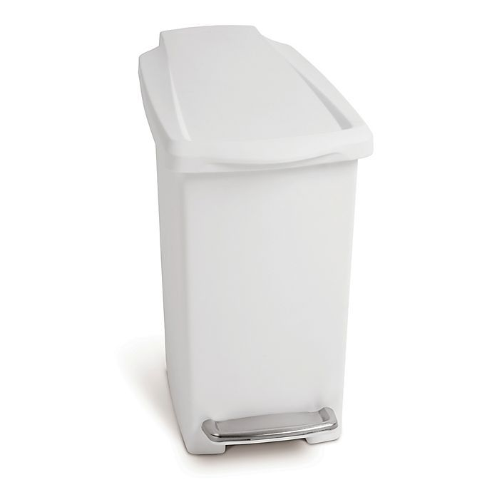 Simplehuman Slim Step 10 Liter Trash Can In White In 2020 Trash Can Simplehuman Canning
