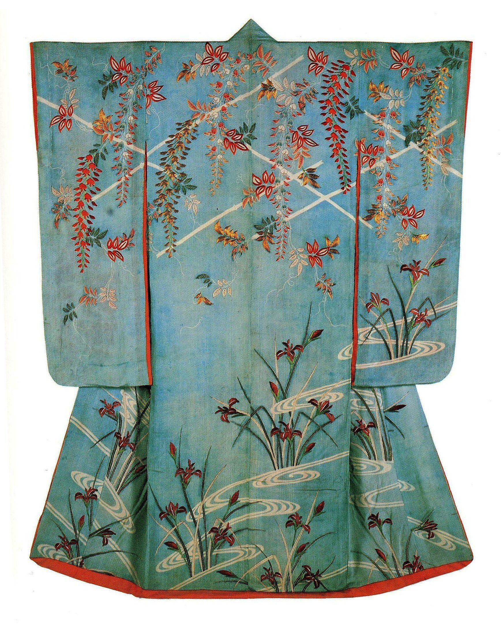 Furisode con glicini, corso d'acqua e iris, Sakura, National Museum of Japanese History