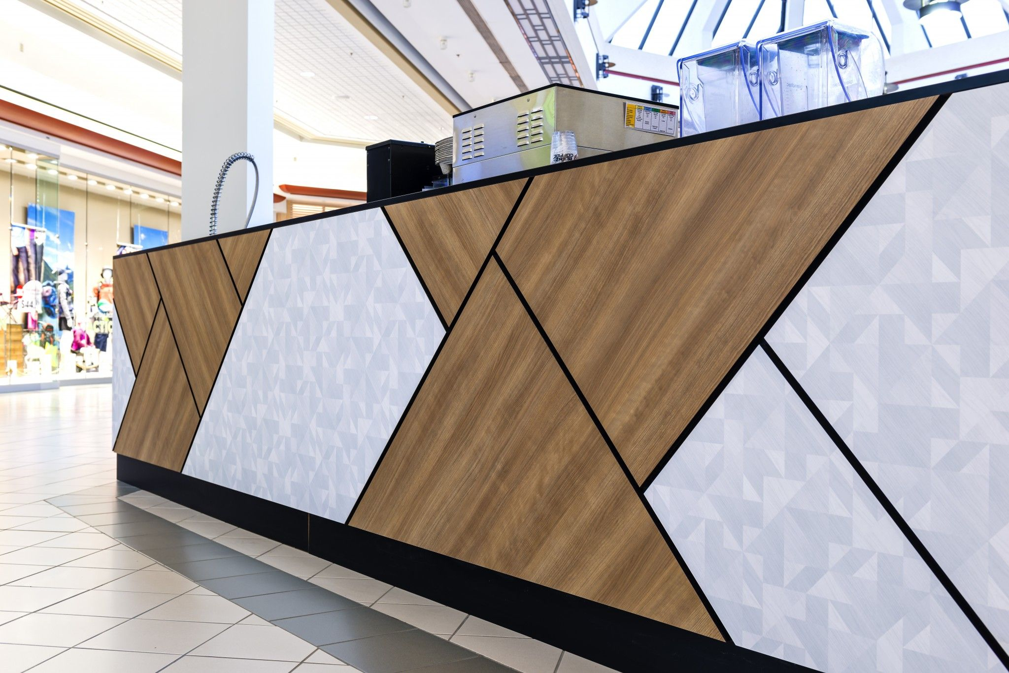 We Had The Pleasure To Work With Blenz Coffee On This Unique Kiosk Located In Kelowna Commercial Interior Design Reception Desk Design Office Reception Design