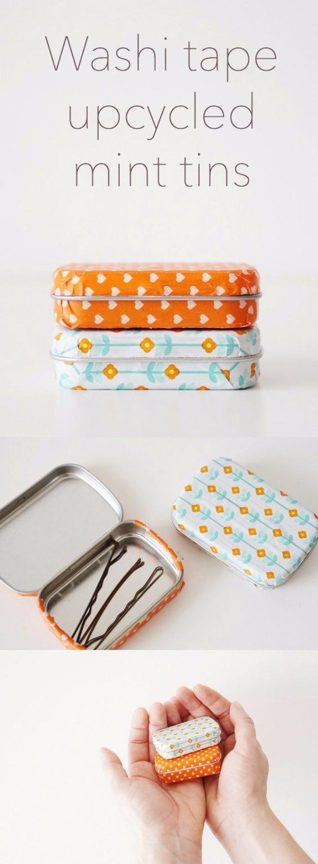 Easy Crafts To Make and Sell - Washi Tape Upcycled Mint Tins - Cool Homemade Craft Projects You Can Sell On Etsy, at Craft Fairs, Online and in Stores. Quick and Cheap DIY Ideas that Adults and Even Teens Can Make http://diyjoy.com/easy-crafts-to-make-and-sell