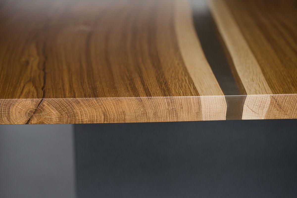 Обеденный/офисный/рабочий стол. Сталь, дуб в моей фирменной ручной отделке, прозрачная смола. 2.30х1.0м.