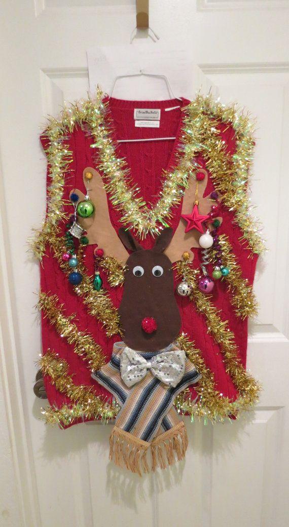 Homemade Custom 3-D Hysterical Reindeer Tacky Ugly Christmas Sweater VEST Wild Garland Light UP Mens Womens Vest iQ9wyHJD