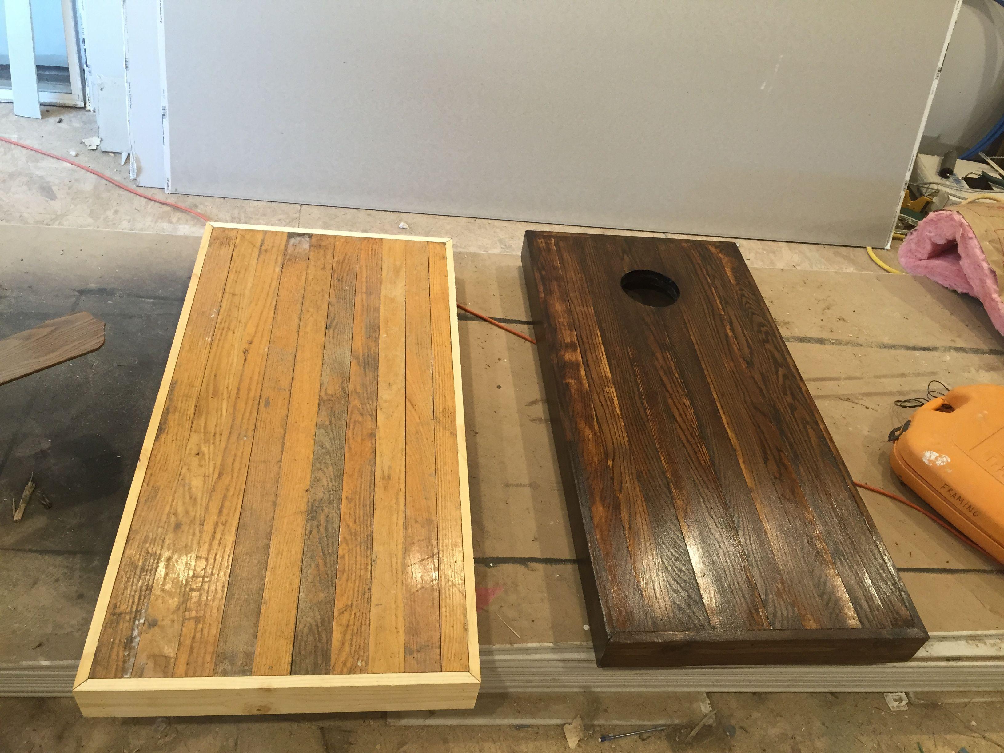 Cornhole board from scrap hardwood flooring  Reclaimed hardwood
