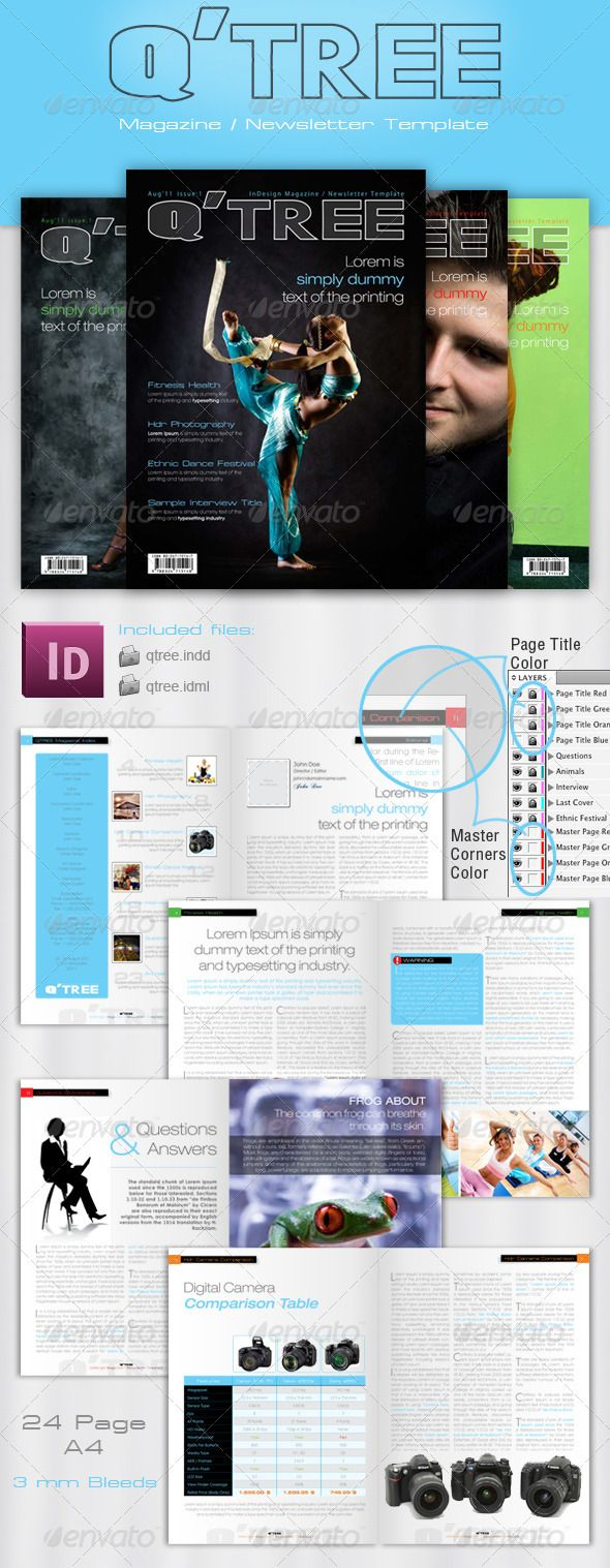 Indesign Magazine  Newsletter Template  Newsletter Templates
