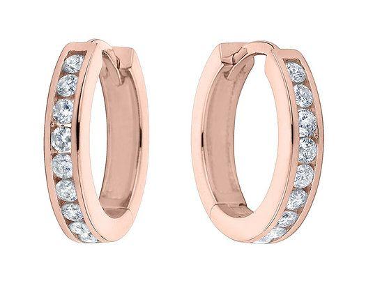 Huggie Hoop Diamond Earrings 1 4 Ctw In 10k Rose Pink Gold 2 Inch