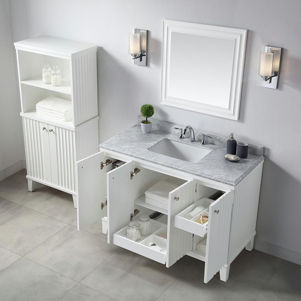 Martha Stewart Living Parker 48 In W X 22 D Vanity White With Marble Top Tops Yellow Bathrooms Small Bathroom