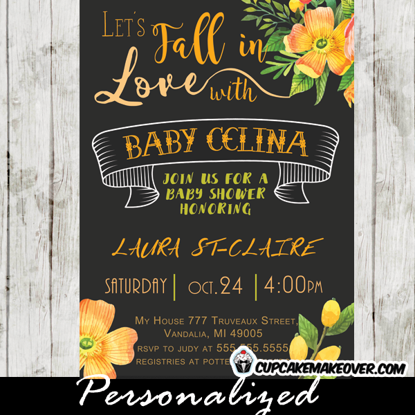 Fall In Love Elegant Autumn Themed Baby Shower Invitation Featuring A Beautiful Banner With Fl Arrangement Yellow And Orange Cupcakemakeover