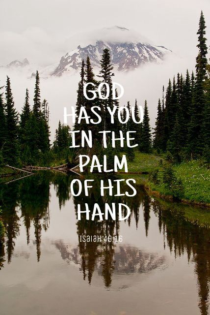 God has you in the palm of his hand.