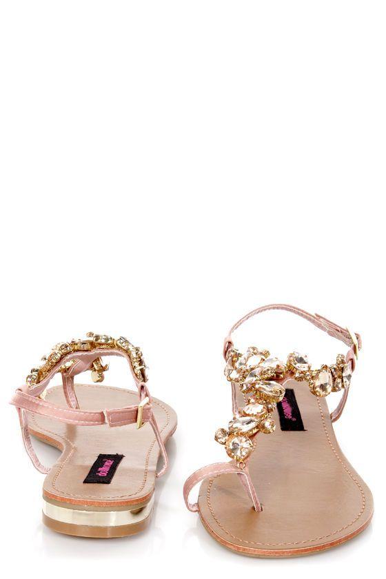 c7535c9863ee Dollhouse Radiant Rose Gold Rhinestone Studded Thong Sandals -  34.00