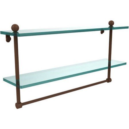 22 inch 2-Tiered Glass Shelf with Integrated Towel Bar (Build to Order)