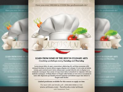 Cooking Lessons Flyer Template Flyer template, Template and Psd - workshop flyer template