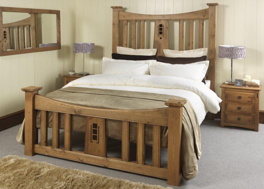 Tall Mackintosh Wooden Bed Charles Rennie Mackintosh Revival Beds Luxury Wooden Bed Wooden Bed Handmade Bedroom Furniture