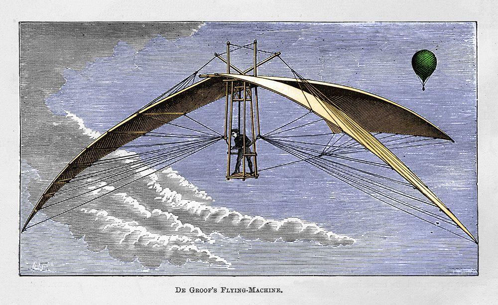 De Groof's Flying Machine Engraving illustration