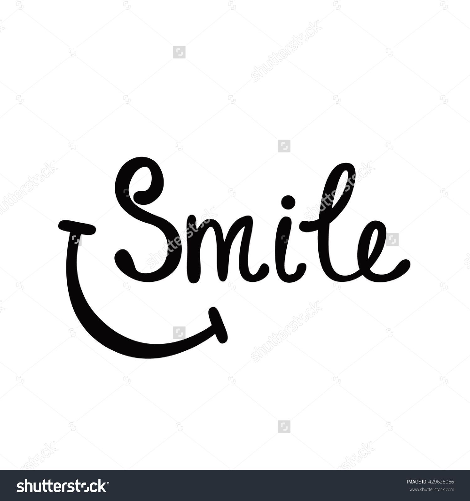 C Stock Quote: Smile. Inspirational Quote About Happy. Modern Calligraphy