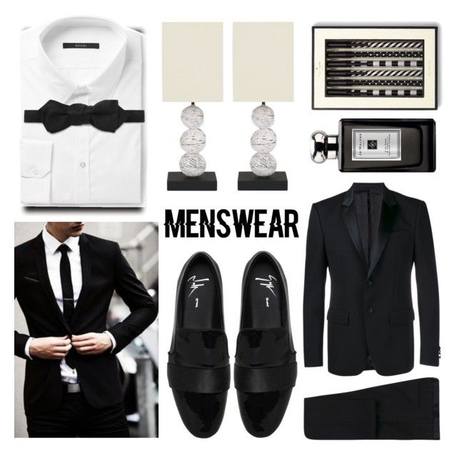 """""""Meanswear Staple Contest: Slip-ones"""" by oleahg ❤ liked on Polyvore featuring Givenchy, Gucci, Safavieh, Kate Spade, Jo Malone, Giuseppe Zanotti, men's fashion, menswear and slipons"""