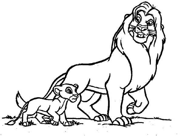 The lion king simba and mufasa talk coloring page