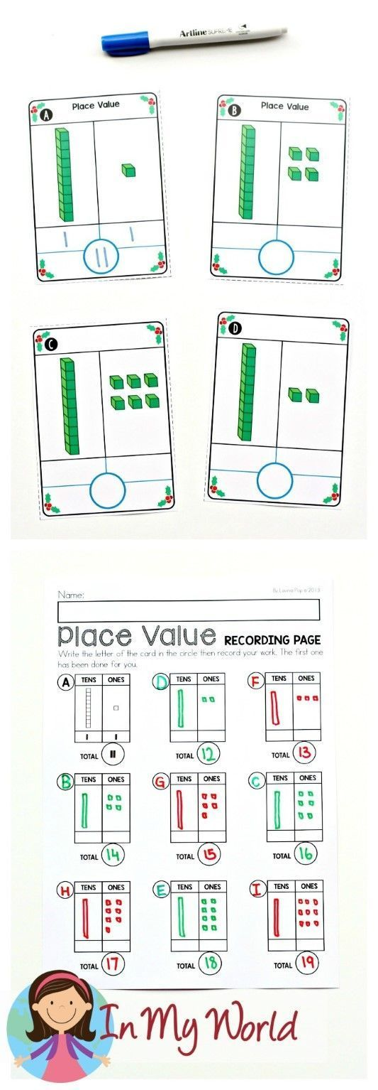 FREE Christmas Math Centers for Kindergarten. Place value ...