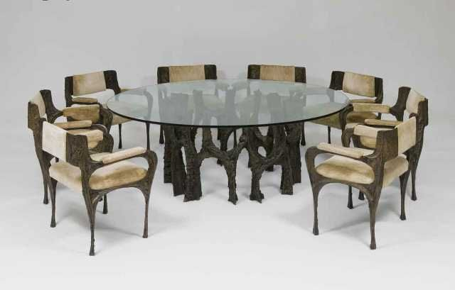 Beautiful Paul Evans (1931 1987), Dining Table And Eight Armchairs (Sculpted Bronze