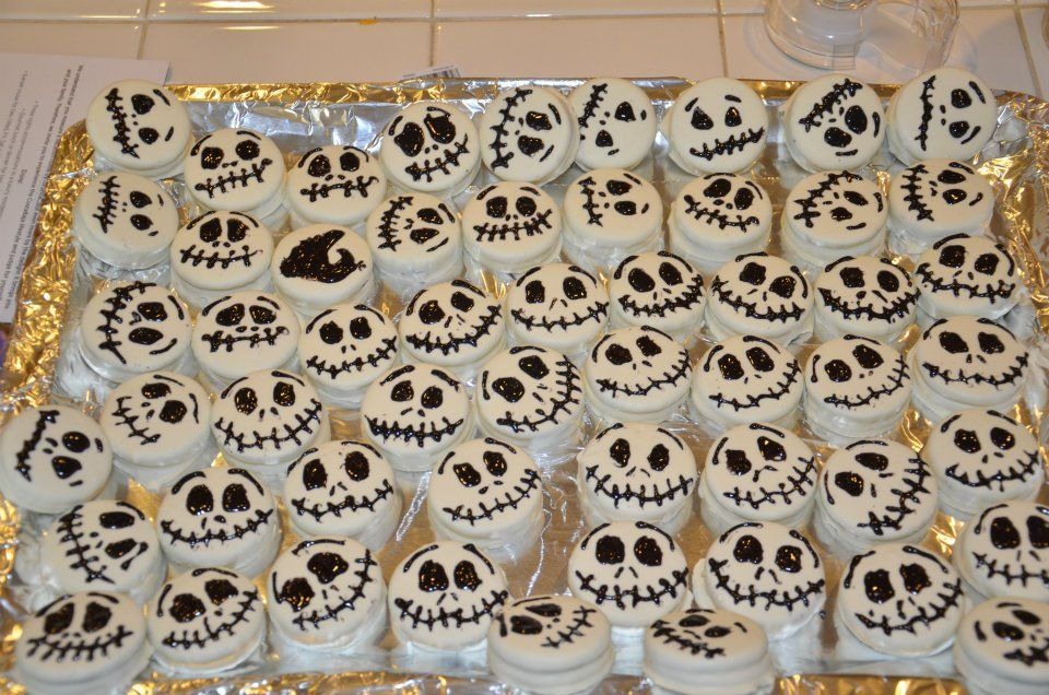 Jack Skellington Oreos   White Fudge Covered Oreo, Limited Editon Chocolate Sandwich Cookies and then decorated using a black candy writer