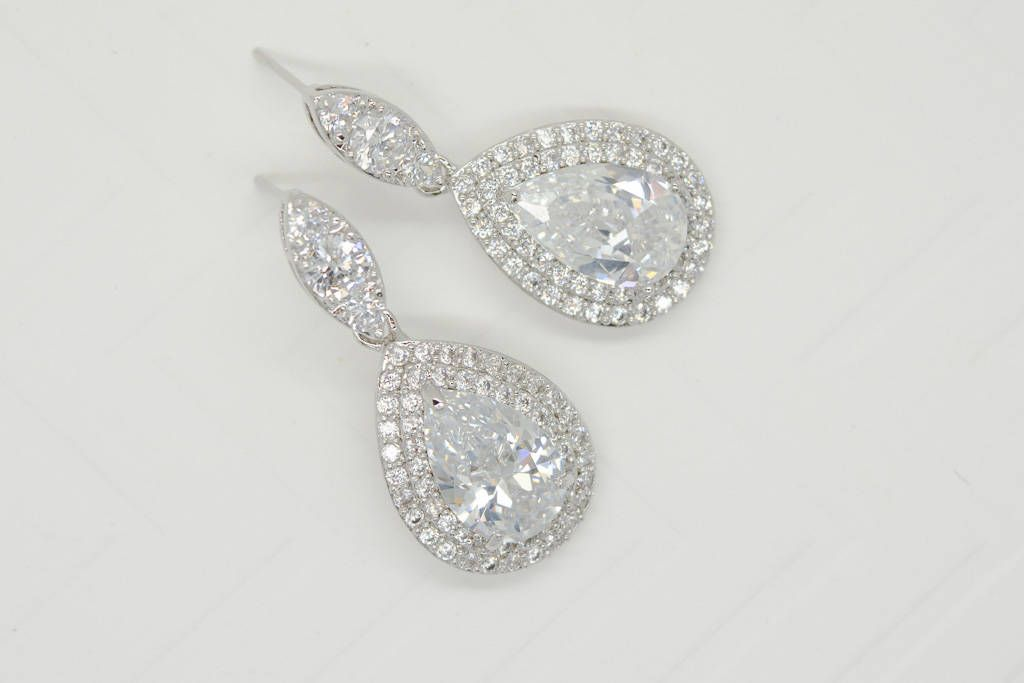 Clic Bridal Silver Drop Earrings In My Etsy Vintage Cubic Zirconia