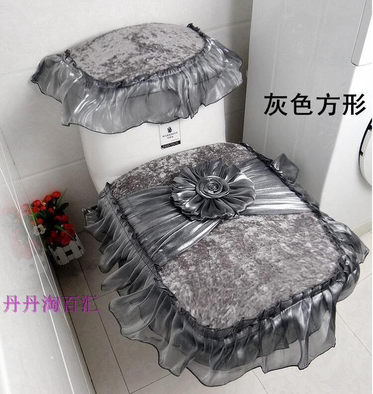 3pcs Set Vintage Lace Toilet Seat Cover For Bathroom Potty Tank