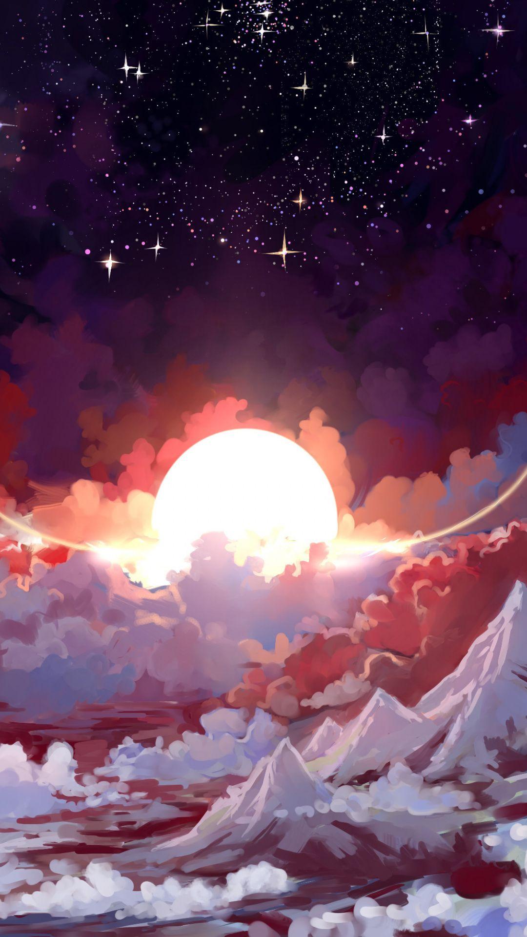 Sun, angels, clouds, fantasy, art, 1080x1920 wallpaper