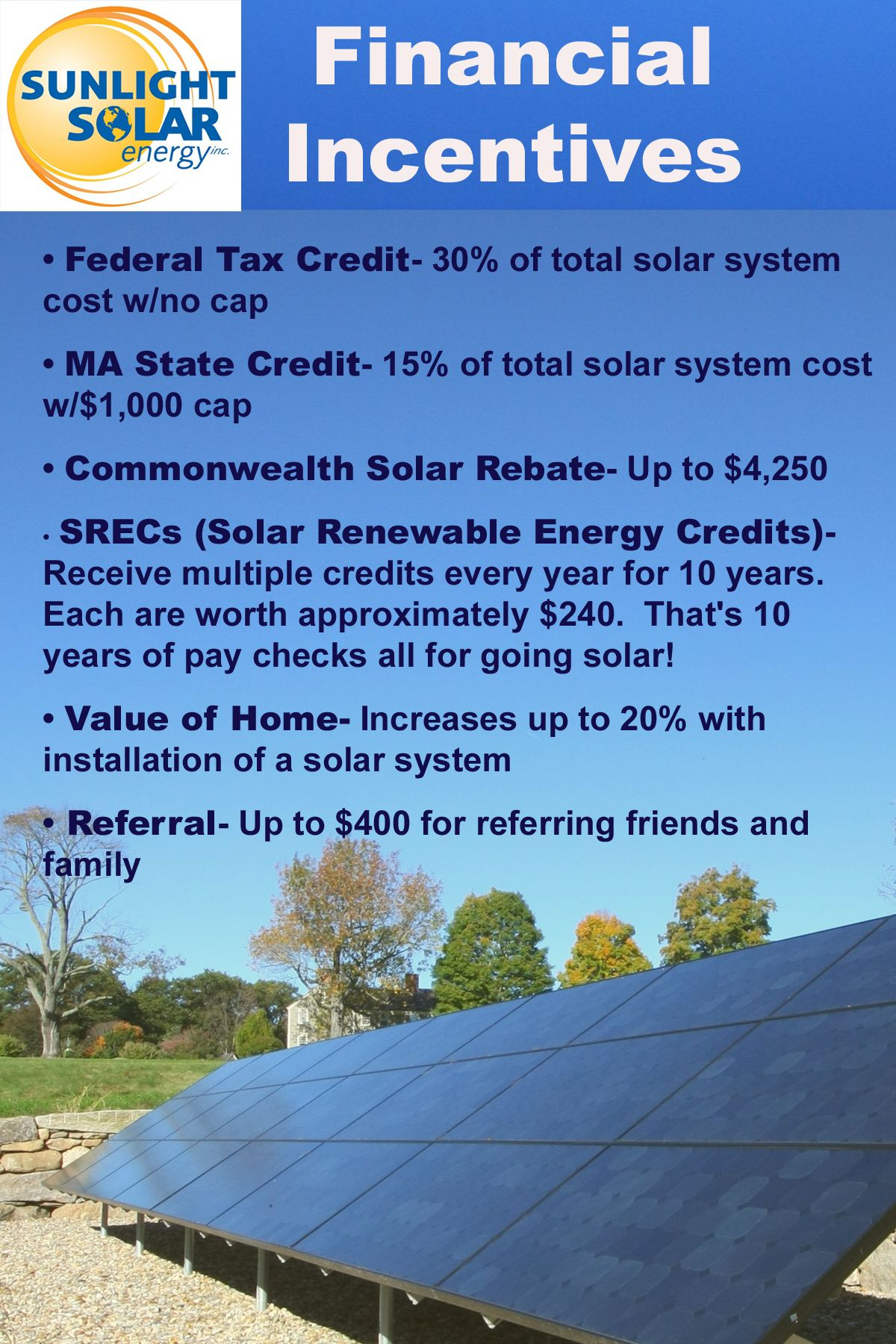 Financial Incentives For Going Solar In Massachusetts Many People Break Even Year 4 Or 5 After Installing A Solar Syst Solar News Solar System Solar Rebates
