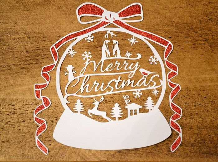 A festive Christmas Snowglobe papercut Download and try cutting - christmas paper template
