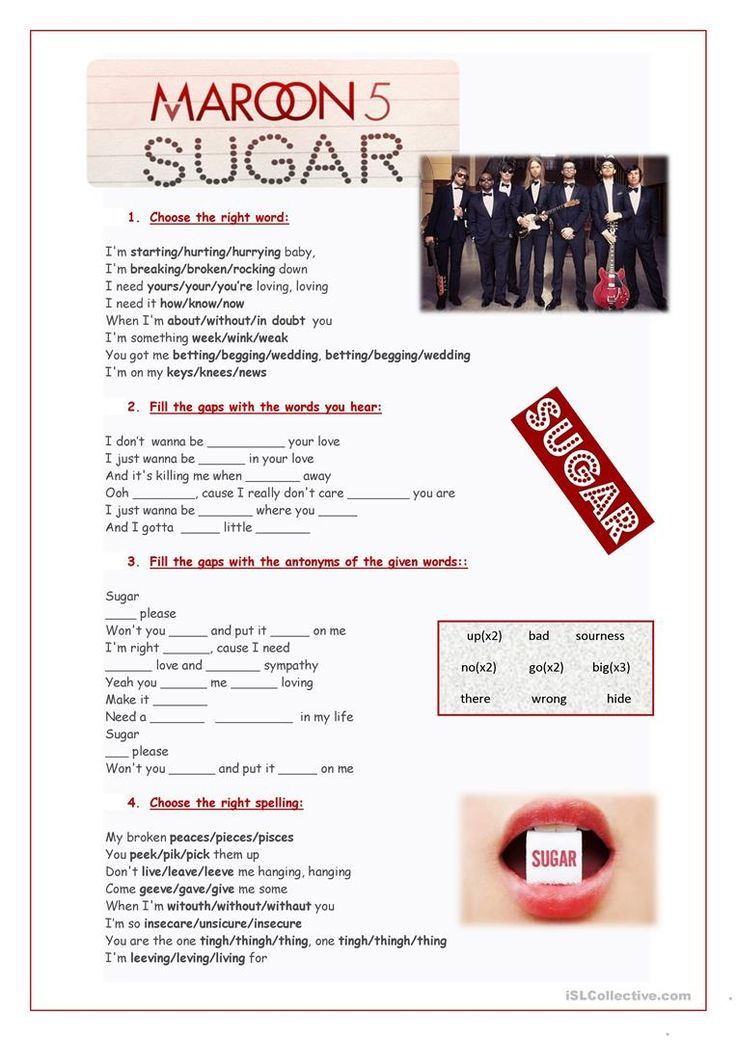 Song Sugar Maroon 5 Worksheet Free Esl Printable Worksheets Made By Teachers English Language Activities English Exercises Songs