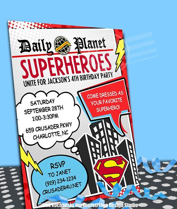 DIGITAL Superhero Birthday Invitation Daily Planet Invitation