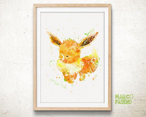 pokemon prints, eevee prints, pokémon go prints, watercolor art