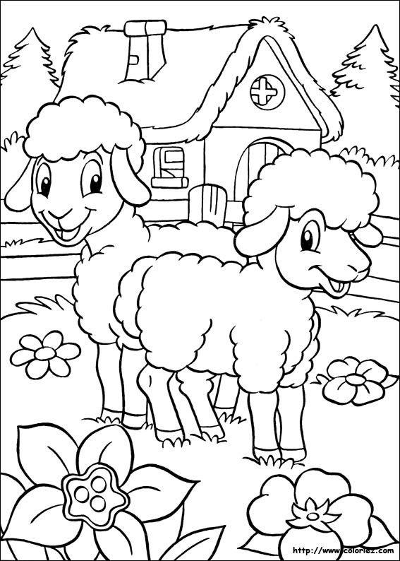 Coloriage Moutons Et Maison Coloriage Coloriage Mouton