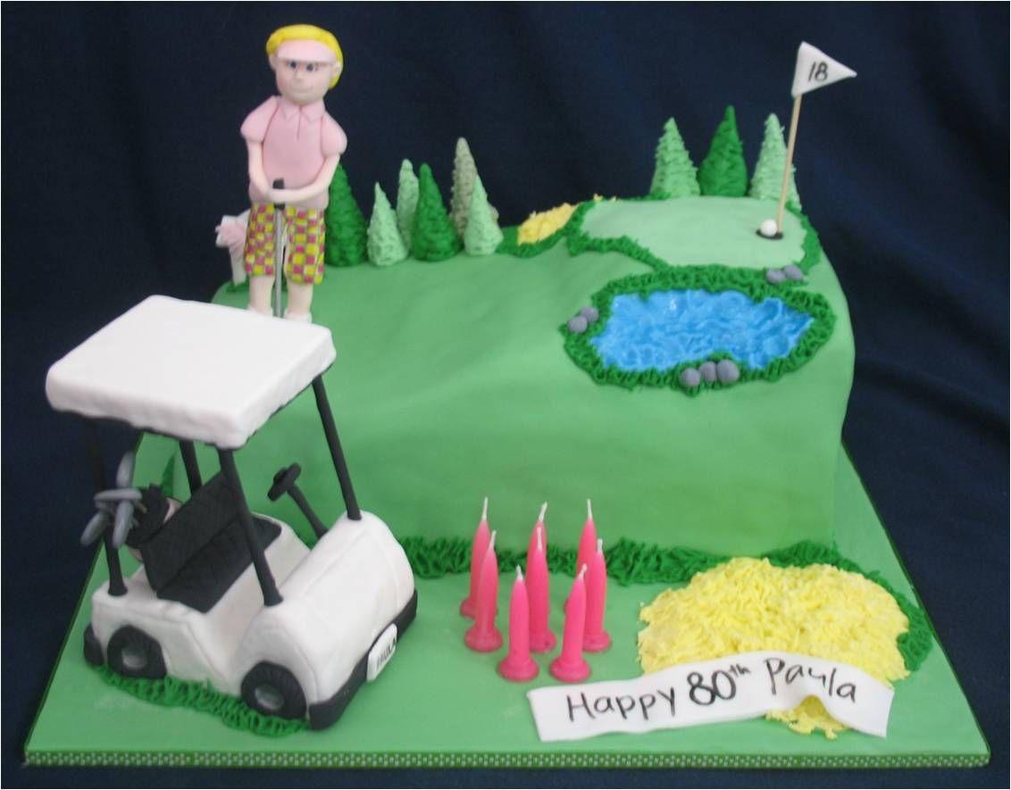 happy 80th birthday golf cake The cake is dense orange cake with