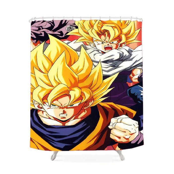 Dragonball Z Goku Fire Shower Curtain