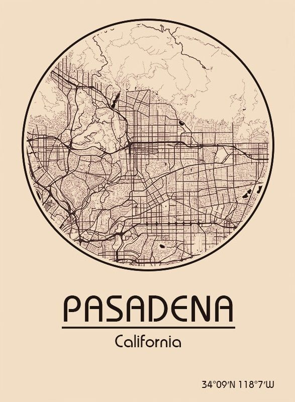 Karte / Map ~ Pasadena, Kalifornien / California ...