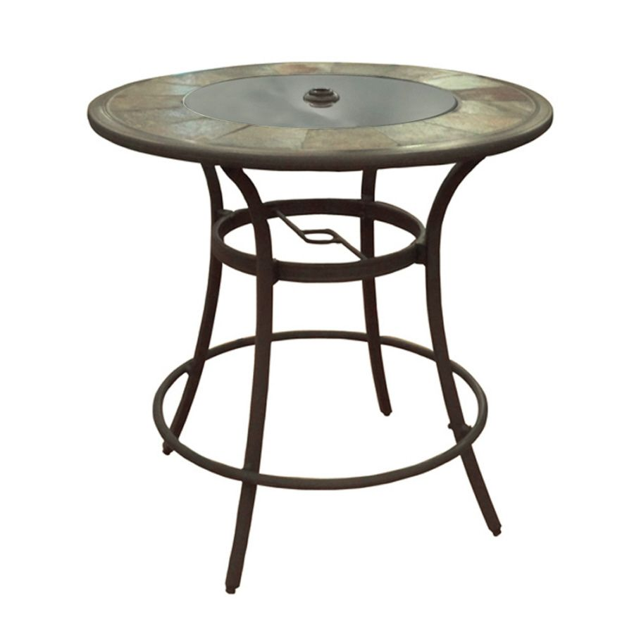 Allen Roth Safford 40 In Round Stone Patio Bar Height Table At Lowes
