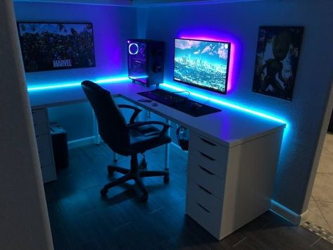 68 Trendy Led Strip Lighting Ideas Bedroom Spaces In 2020 Gaming Room Setup Video Game Room Design Bedroom Setup