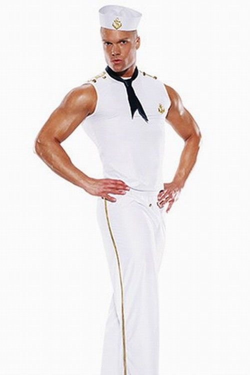 Men's Role-playing Halloween Costumes Sailor costumes Top+Bottow+Hat+Tie One Color White  -$19.99